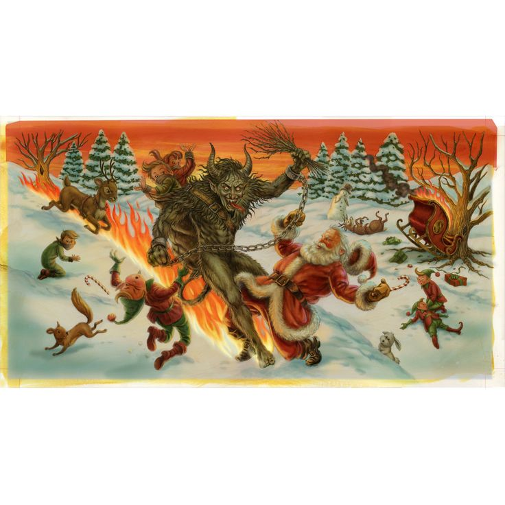 """Screen Printed """"Krampus vs Santa"""" Print by Doug P'Gosh. Signed edition of  only 100 (Approximate size is 24 inches wide)  Expected delivery date is 2-3 months from time of order."""