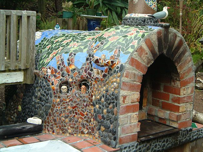Pizza Oven With Beautiful Tiled Mosaic Decoration On