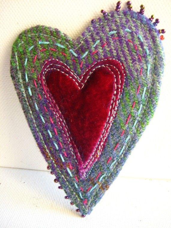 Harris Tweed Heart Brooch by Jackie Cardy textiles