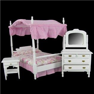 Mayberry Street Miniatures Dollhouse Canopy Bed Set | Shop Hobby Lobby