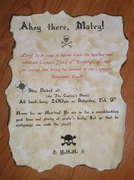 printable pirate party invitation - in-the-corner