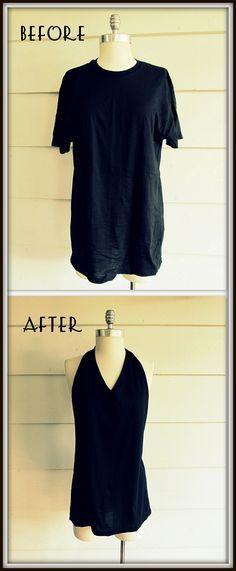 TUTO - t-shirt facile à faire sans couture. WobiSobi: No Sew, Tee Shirt- Tied Halter, DIY