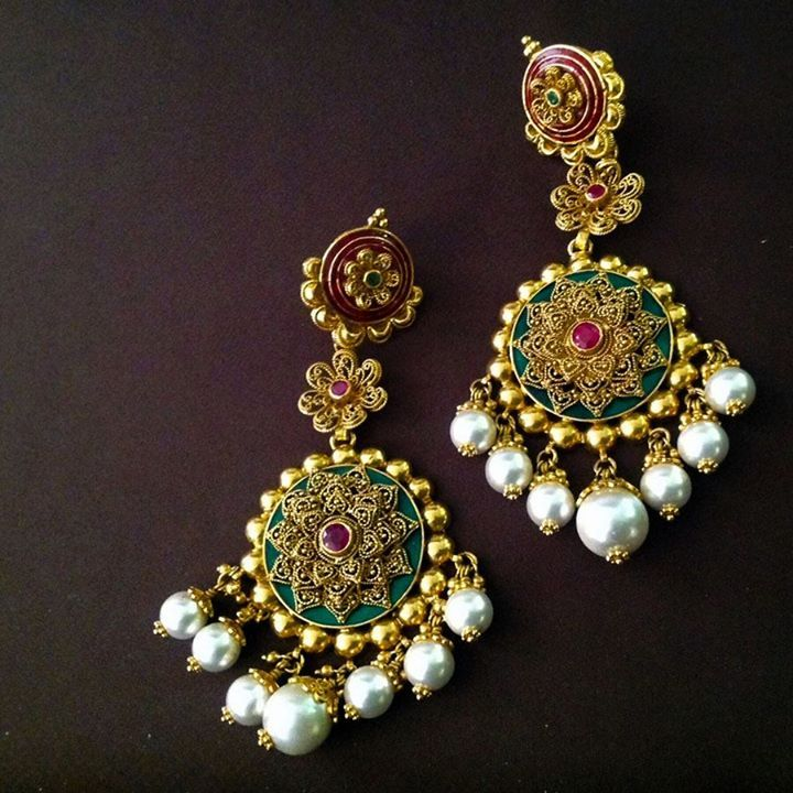 green red pearl earings indian jewellery - loved & pinned by www.omved.com