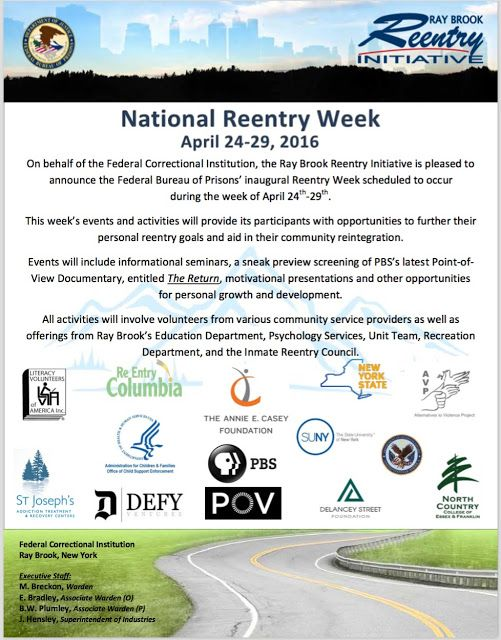 Prisonist.org: National Reentry Week Conference at Ray Brook FCI - Mon. April 24th - Fri. April 29th