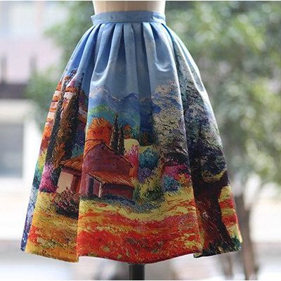Fine art collection vintage style dress like audrey hepburn one fine day in countryside gorgeous puffy skirt - Thumbnail 1
