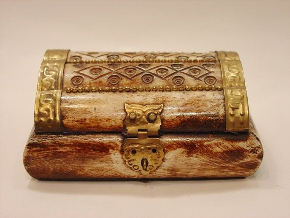 Vintage Brass and Bone Trinket Box made in by myitaliandreams