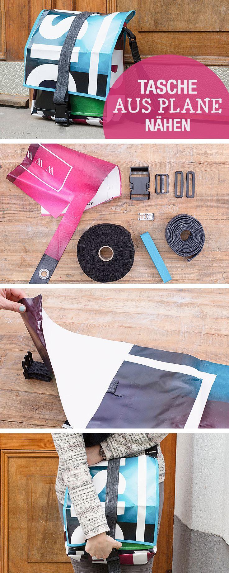 DIY-Nähanleitung: Tasche aus LKW Plane nähen, Taschen selbernähen / use truck canvas to sew a messenger bag, sewing bags via DaWanda.com (Diy Clothes Upcycle)