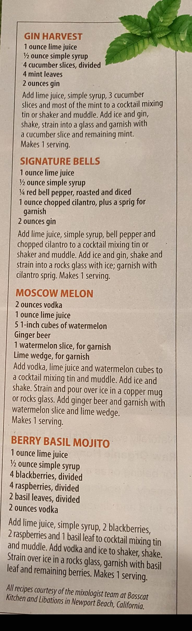 Gin Harvest. Signature  Bells.  Moscow Melon. Berry Basil Mojito. From the Costco Connection magazine