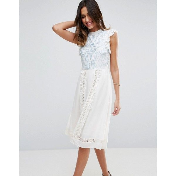 ASOS PREMIUM Sleeveless Embroidered Dress ($125) ❤ liked on Polyvore featuring dresses, white, white sleeveless dress, embroidery dresses, white cut-out dresses, embroidered prom dress and cutout dresses