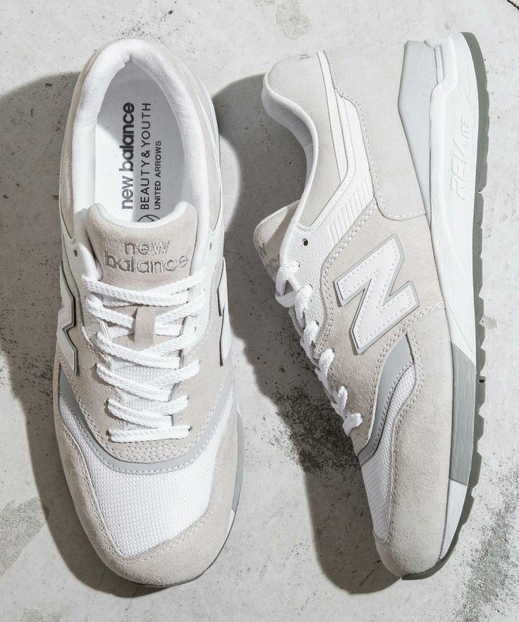 New Balance × 997.5 WHITE メンズ 靴 おしゃれ, 白いスニーカー, スニーカー