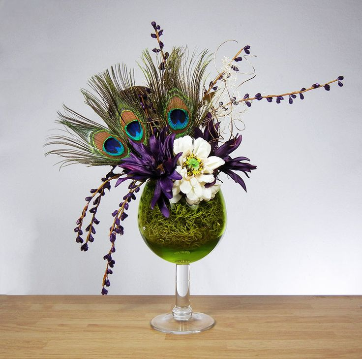 peacock wedding flower arrangements | Peacock Feather Floral Arrangement with Purple Flowers and Green Wine ...