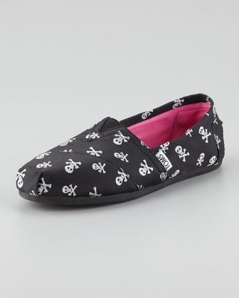 Sparkle Skulls Slip-On, Black by TOMS at Neiman Marcus.