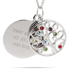 Engravable 8 Stone Sparkling Crystal Family Tree Pendant $60  - Free chain included!