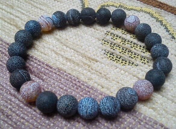 Men's bracelet - Agate beads - fire dragon veins (8 mm)