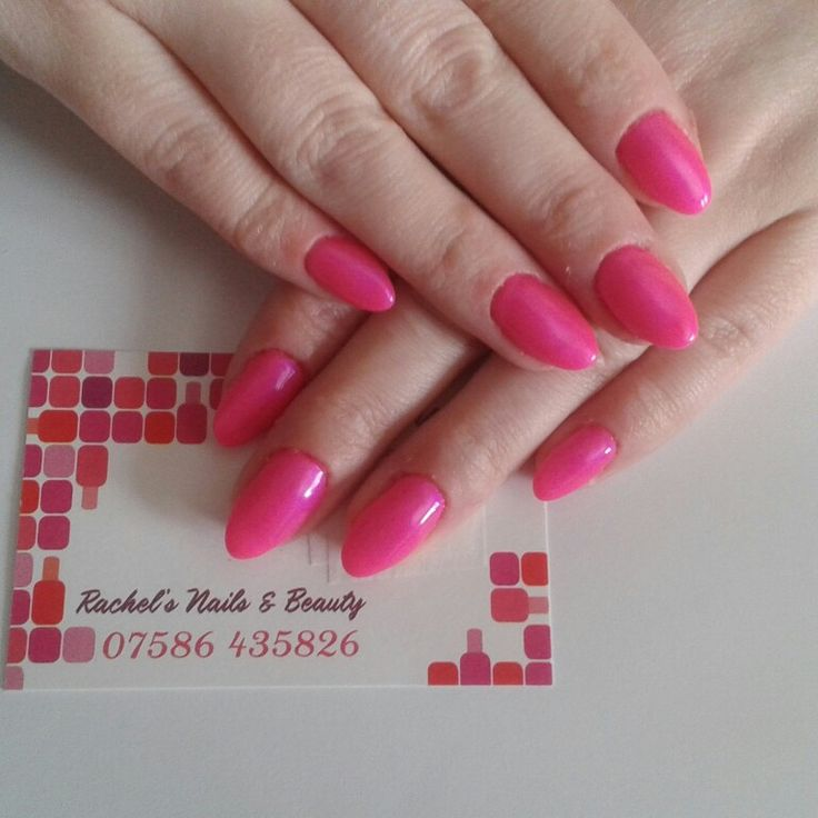 Oval Bio Sculpture Gel sculptured extensions using No. 102 Neon Pomegranates On Ice.