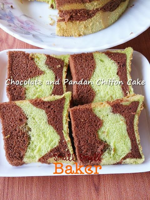 Chocolate & Pandan Chiffon Cake 双色巧克力斑兰戚风蛋糕