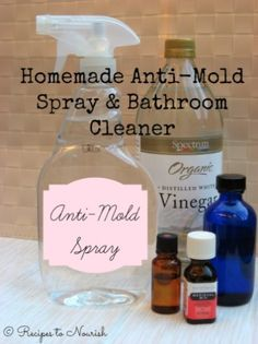 Mold removal spray ~ 50% white vinegar, 50% distilled water & 1 tsp tea tree essential oil for every cup made. Spray on & leave. (She used 80/20 mix)