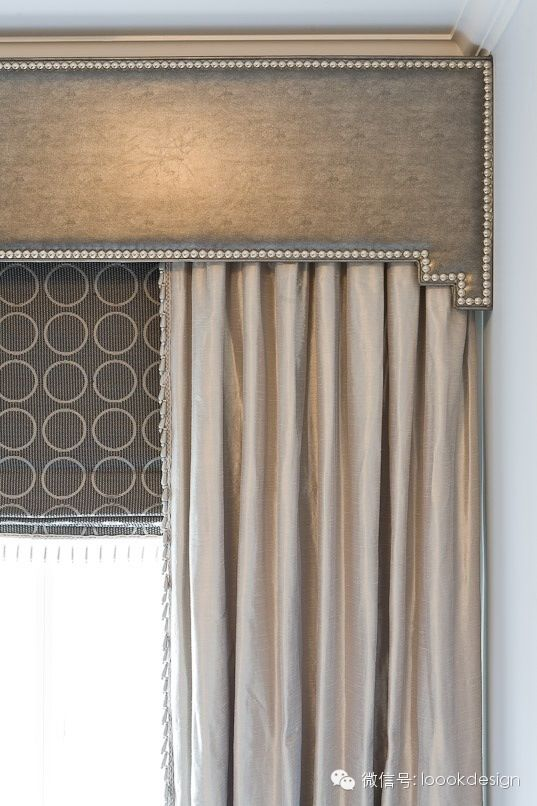 cornice board, drapes and shade combination window treatment.