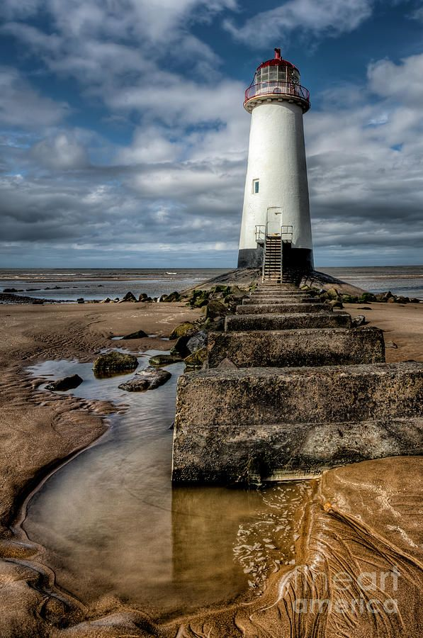 ✮ Steps leading to the abandoned lighthouse at Point of Ayre, Talacre Beach, Flintshire, North Wales, UK