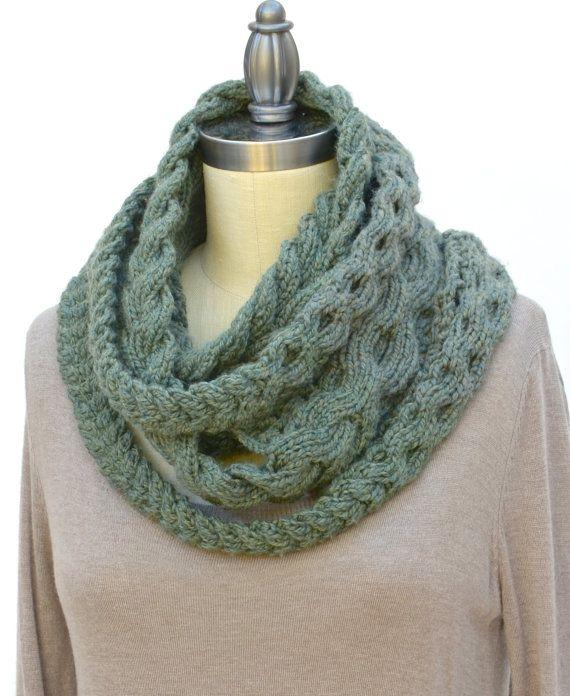 Triple tresse Infinity écharpe PDF Knitting Pattern téléchargement immédiat