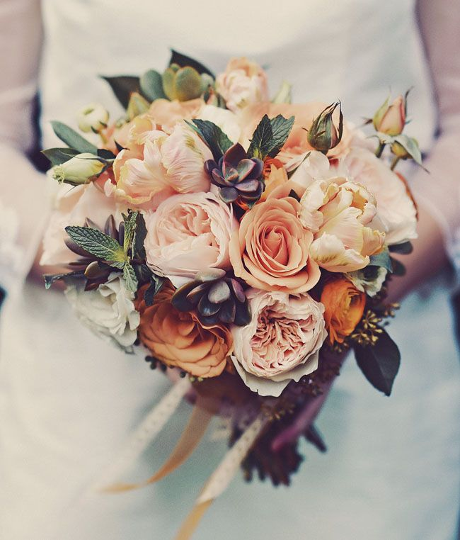 Peach + blush bouquet of roses + parrot tulips