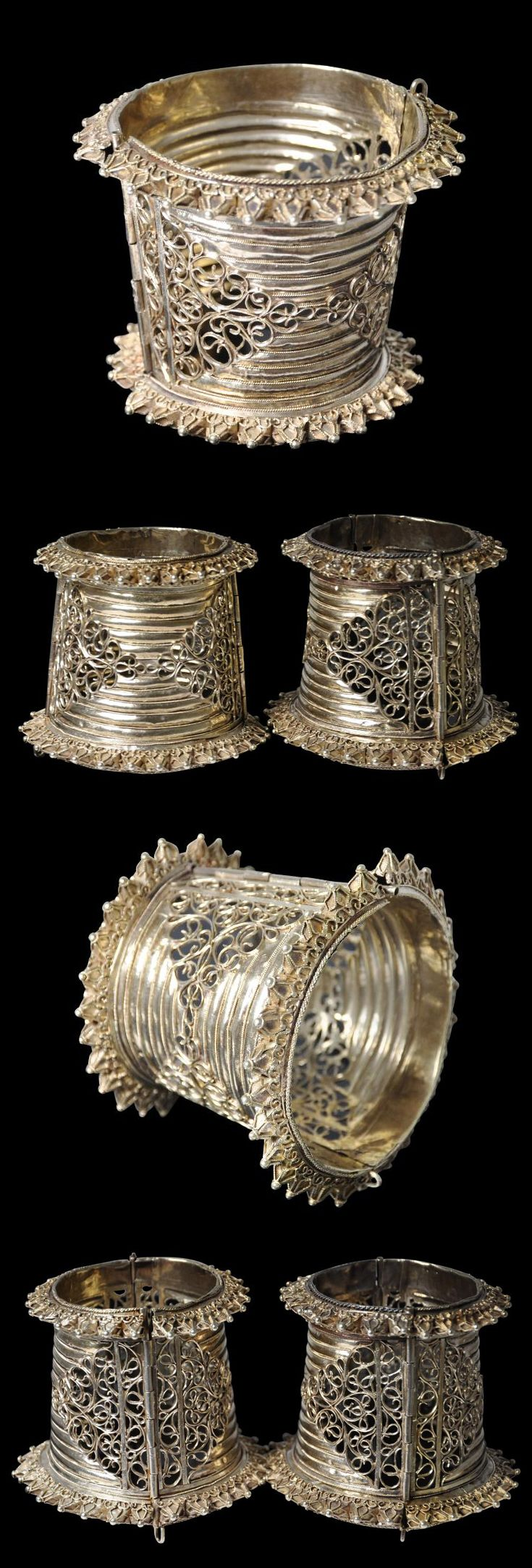 Indonesia | Rare Pair of Gold Cuff Bracelets (Tigero Tedong) | Bugis People, South Sulawesi | 19th century | Price on request.