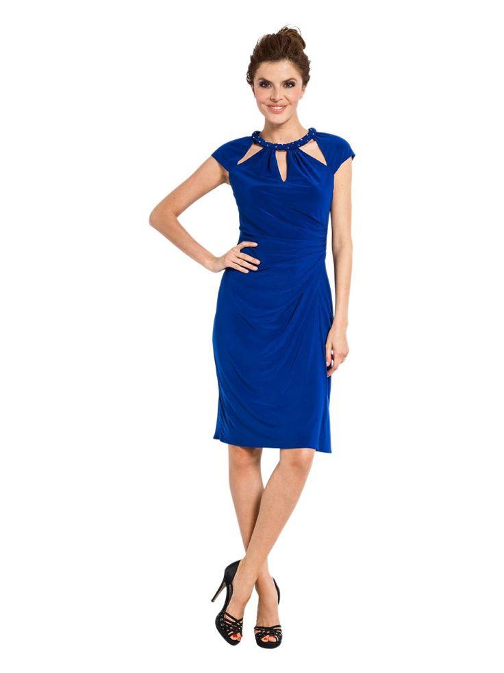 robe de soir e courte drap e bleu roi col original une bonne solution qui affine la taille. Black Bedroom Furniture Sets. Home Design Ideas