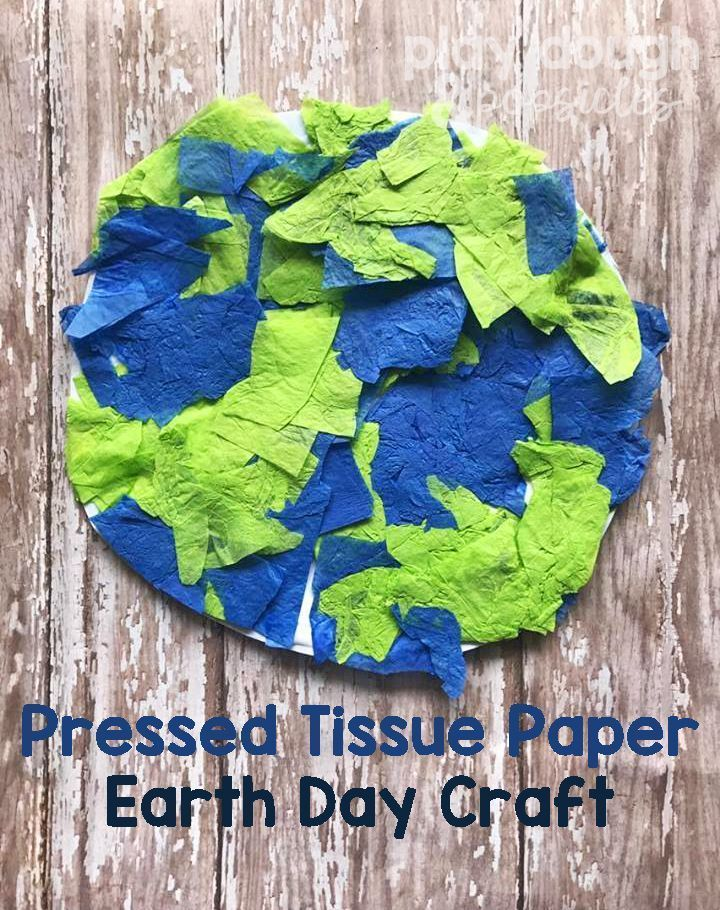 Pressed Tissue Paper Earth Day Craft For Kids