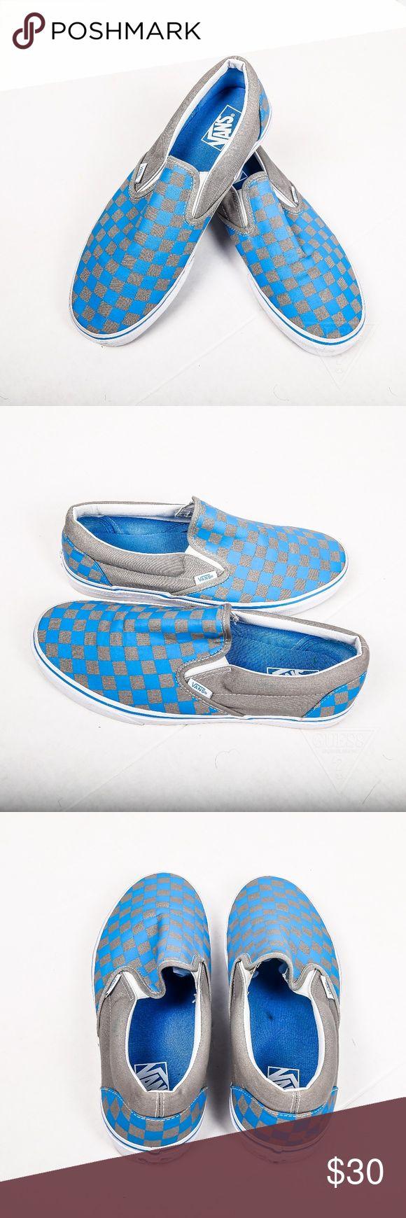 Men's blue and grey checkered slip on vans sz 10 Men's blue and grey  checkered slip