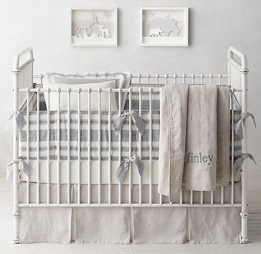Washed Organic Linen Stripe & Washed Organic Linen Nursery Bedding Collection