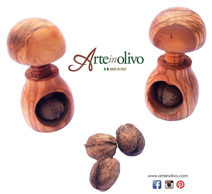 Mushroom nutcracker made with Italian olive wood. Made in Italy www.arteinolivo.com #olivewood #arteinolivo #madeinitaly #design #home #household #wood #italy #mushroom #nuts #olivenholz # bois # woodkitchenware