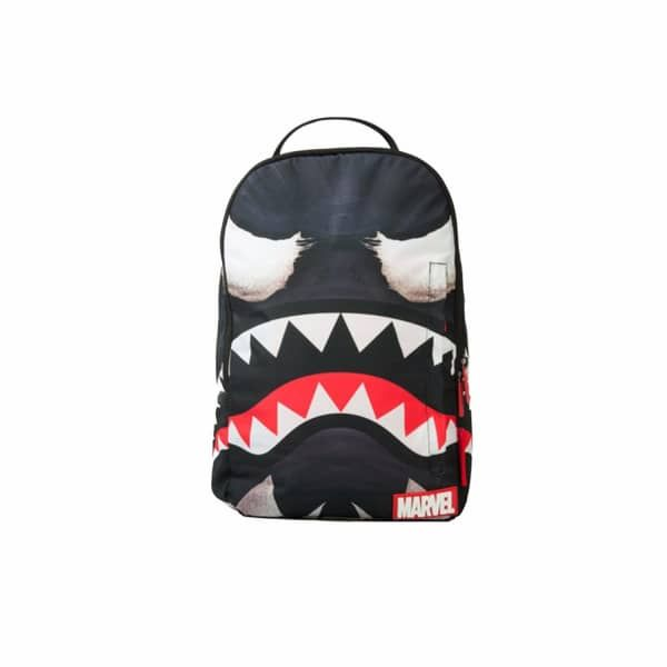 Marvel Venom Shark Mouth | Sprayground | Wolf & Badger / / Spiderman's nemesis Venom meets the iconic shark mouth. the Most Iconic Bag silhouette in the collection. featuring individual laptop and sunglass pockets with ergonomic straps big enough to hold a days worth of gear. All bags are Limited edition and never produced again.