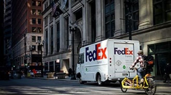 FedEx Express delivery vehicle in NYC, USA