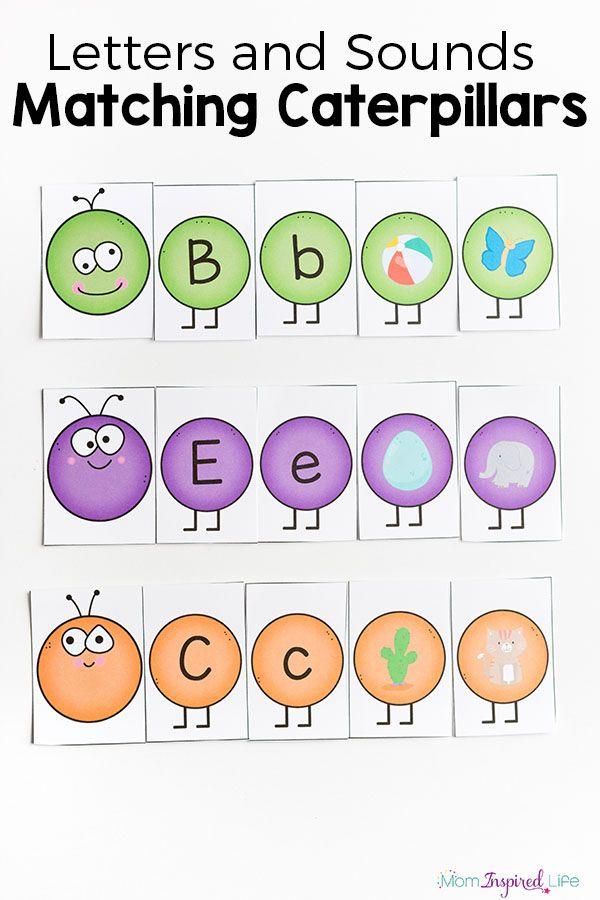 Adorable caterpillar letters sounds activity for spring! Fun ABC game for preschool or kindergarten.