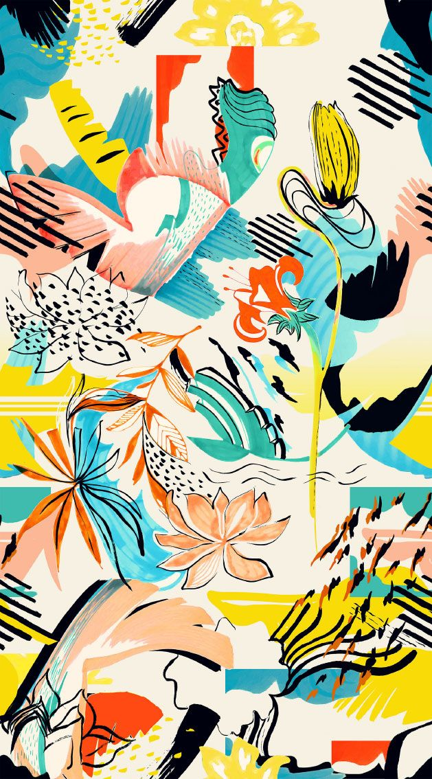 Abstract floral pattern - irina muñoz clares   fashion graphics + illustration