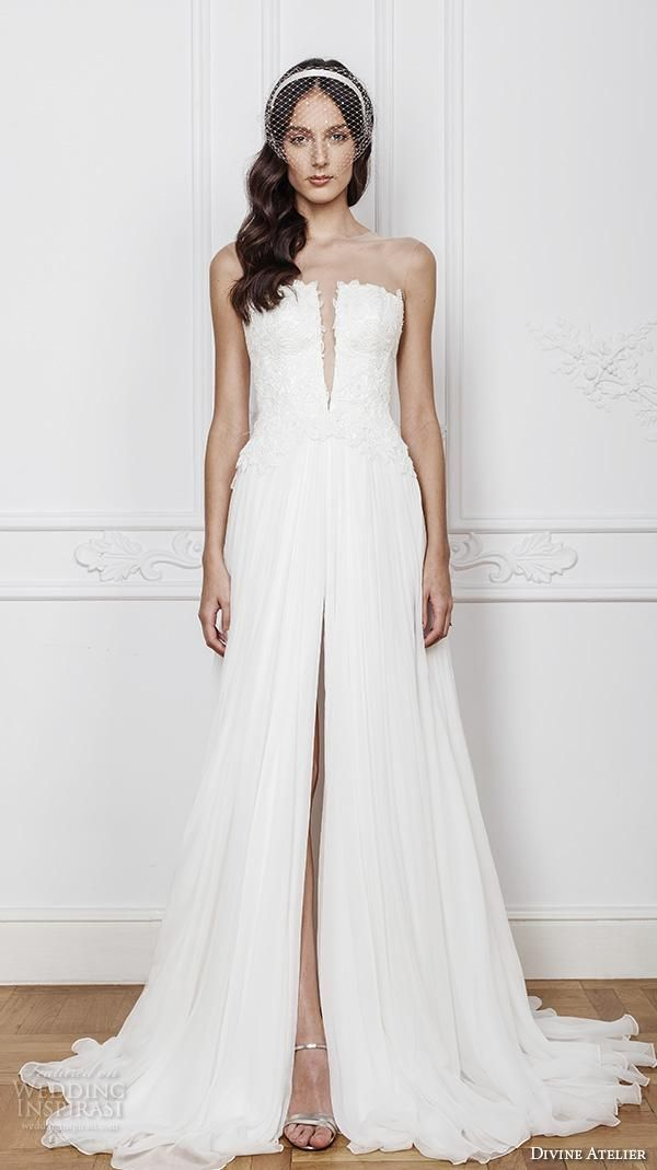 Vintage Chiffon Split Front Beach Wedding Gowns 2016 Bridal Gowns Strapless Sheer Neck Lace A Line Wedding Dresses Ball Gowns Debenhams Dresses From Yaostore, $181.81| Dhgate.Com