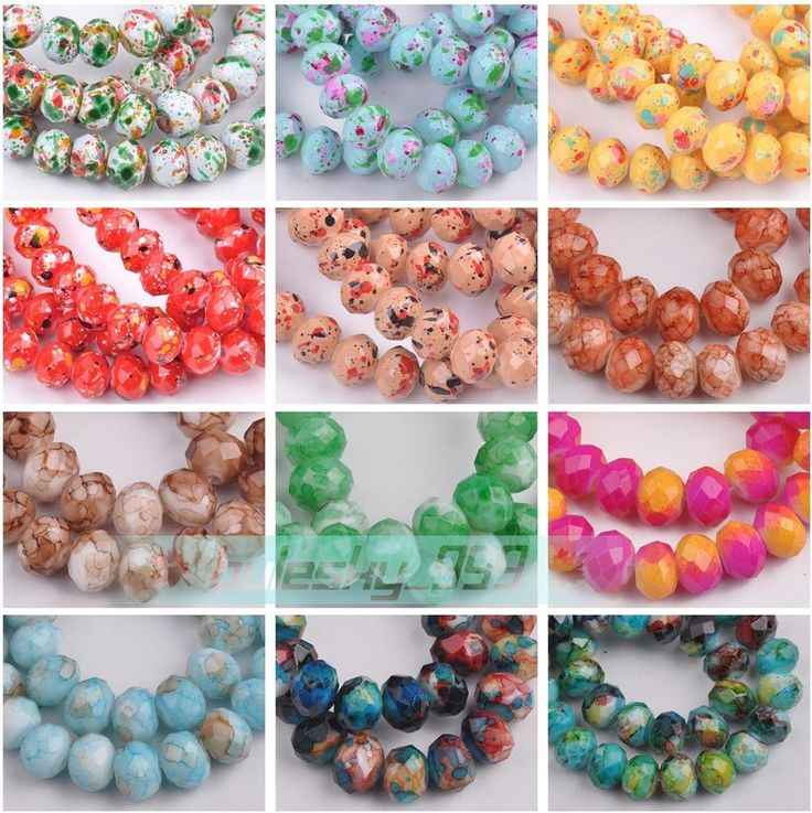 New Colorful 8mm 50pcs Rondelle Faceted Cut Crystal Glass Loose Spacer Beads Lot…