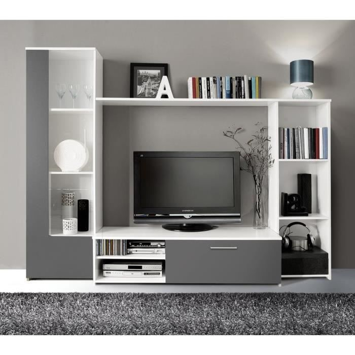 #BonPlan #Meubles #Salon #Cdiscount ❤ FINLANDEK - #Meuble #TV mural PILVI 220 cm blanc et gris - Le meuble TV PILVI gris et blanc fait partie de la gamme FINLANDEK. Pratique et résistant, il vous offrira de multiples rangements. Il est composé d'une colonne avec porte en verre et 3 étagères, d'un meuble TV avec 1 abattant et 2 niches (passage pour câbles prévu), d'une #bibliothèque avec 3 niches et d'une étagère supérieure. Poignées en plastique effet aluminium - Dimensions : 220 x 177 x…