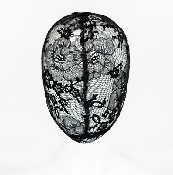 Handmade Haute Couture lace mask in Black, with Flower lace design from Cryptic Nine