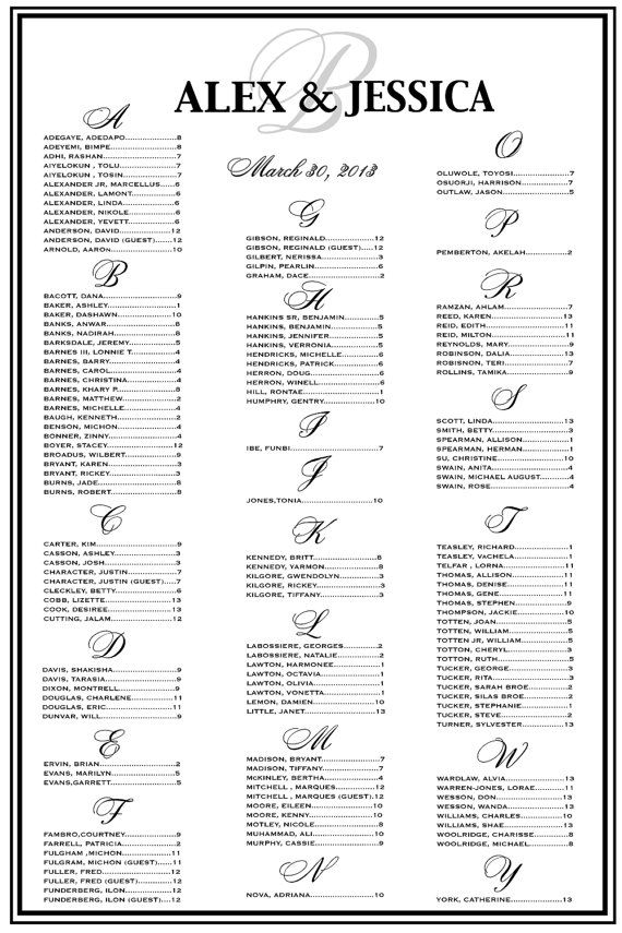 Wedding Seating Chart, Wedding Seating, Reception Template Seating Chart, Vertical or Horizontal