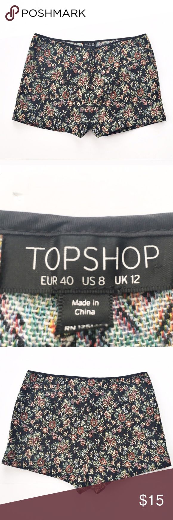 "Topshop floral shorts Floral print tapestry shorts from Topshop, size 8. Excellent condition. Flat measurements waist: 16"", hips: 18"", length: 11"", inseam: 2.5"". Topshop Shorts"