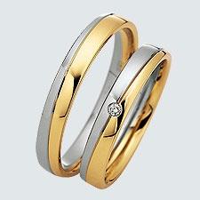 Descriere produs  Verighete cu briliante, din aur alb cu aur galben.  Cu interiorul bombat, pentru un confort maxim la purtare