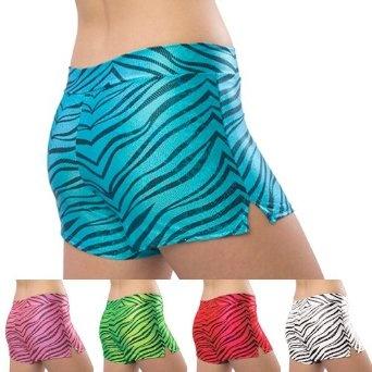 Pizzazz Black Multi Color Zebra Glitter Dance Cheer Shorts Adult S-2XL, (soccer spandex shorts, tuga shorts, zebra print sport shorts, crossdress)