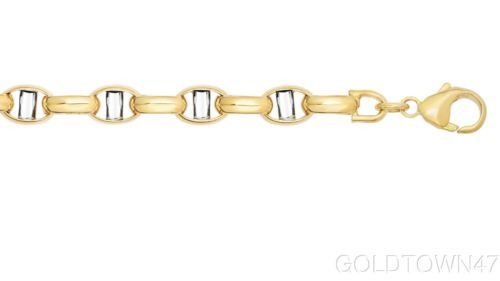 14k Yellow+White Gold Link Bracelet wi th Lobster Clasp