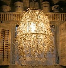 SparklesLamps, Diy Chandeliers, Pearls Strand, Diy Pearls, Lights Fixtures, Diy Lights, Wire Baskets, Lanterns, Crafts Stores