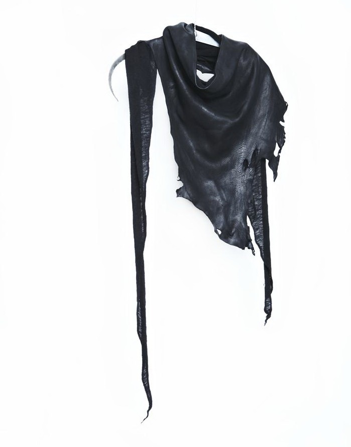 Logan Zeitzel. Leather deer hide scarf attached to a wool cashmere body