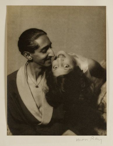 Maharaja Yeshwani Rao Holkar II and Maharani Sanyogita Devi of Indore, c. 1930 by Man Ray. (Al-Thani Collection - Asian Art Museum, San Francisco.)