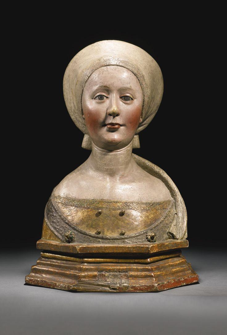 German, Swabia, probably Ulm, circa 1510-1520 BUST OF A FEMALE SAINT,. Gilt and polychromed limewood.