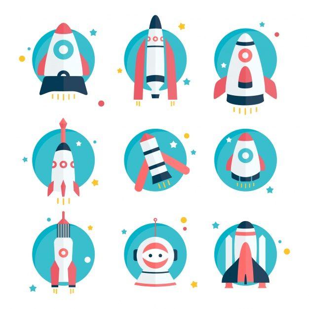 Diseños de naves espaciales y cohetes Vector Gratis en Transporte  Por johndory / Freepik