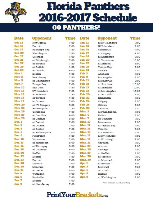 2016-2017 Florida Panthers Schedule